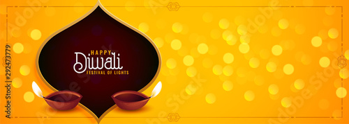 awesome happy diwali festival banner with diya decoration Wallpaper Mural