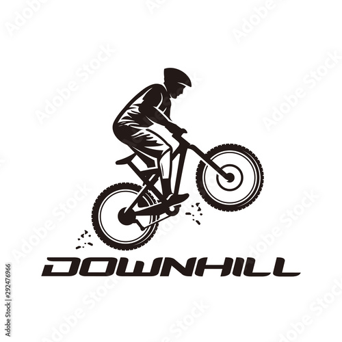 Carta da parati Downhill, mountain bike logo vector