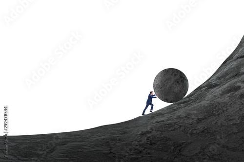 Fotomural Man pushing large stone to the top
