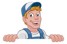A Handyman Cartoon Character C...