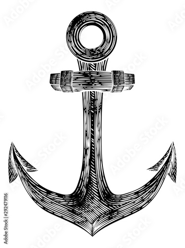 Fényképezés An anchor from a boat or ship tattoo or retro style woodcut etching drawing in a