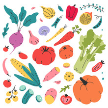 Doodle Hand Drawn Collection Of Vegetables. Doodle Style Food Set Of Organic Products For Retail, Farming, Market Or Fair. Isolated Vector Illustrations Of Tasty Fresh Organic Food For Restarant, Menu