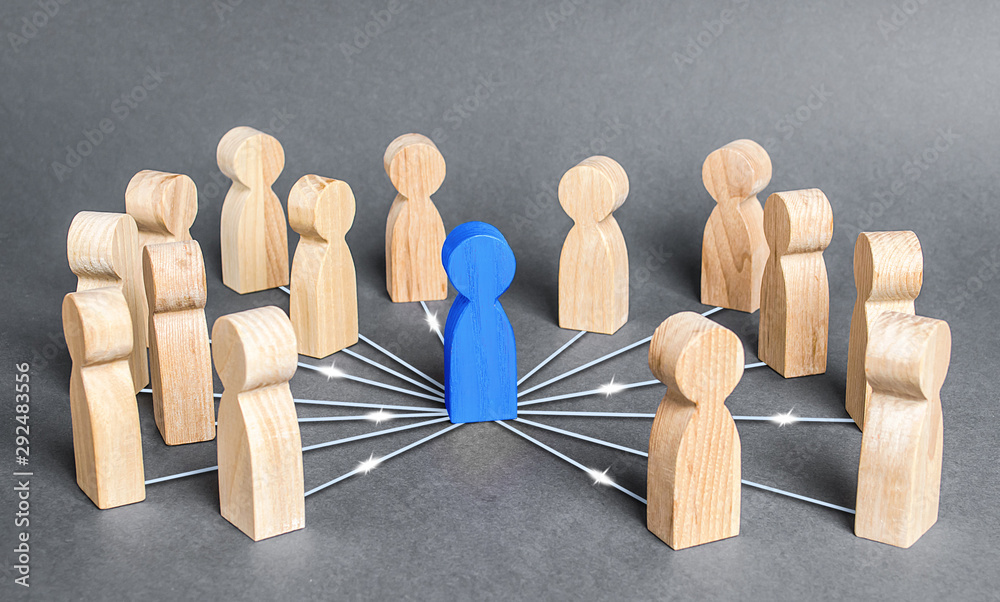 Fototapeta The blue person is connected with employees by wide network of lines. At the center of a complex large system. Communication social. Cooperation, collaboration. Project leadership personnel management