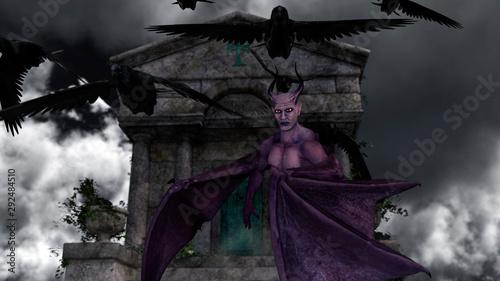 Photo Fallen angel satan in old spooky mausoleum in moonlight