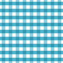 Blue Checkered Seamless Pattern. Blue And White Plaid Texture. Blue Gingham Seamless Background. Chequered Backdrop For Textile,tablecloth,clothes,shirt,blanket And Other Products. Vector Illustration