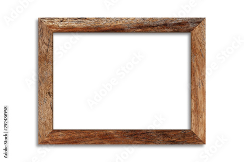 Obraz Wood picture frame isolated on white background with clipping path . Image display concept - fototapety do salonu