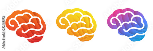 Colorful Brain icon Poster Mural XXL