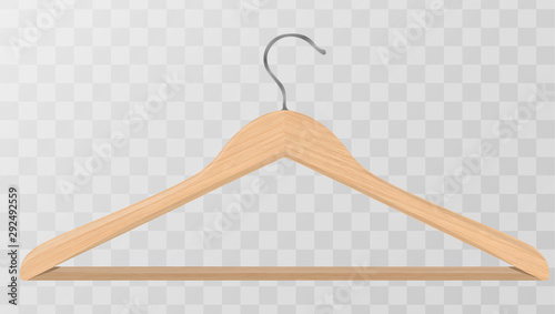 Valokuvatapetti Realistic vector clothes coat wooden hanger close up isolated on transparency grid background