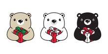 Bear Vector Christmas Polar Bear Santa Claus Hat Icon Gift Box Cartoon Character Logo Symbol Illustration Doodle Design
