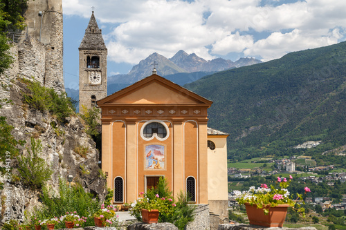Catholic church above Saint-Pierre town, Aosta Valley, Italy Wallpaper Mural