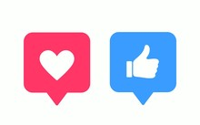 Like Or Thumb Up And Heart Vector Modern Icons. Design Elements For Social Network, Marketing, Smm, App, Interface And Ad.