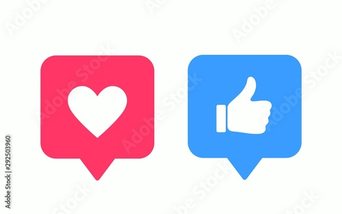 Obraz Like or thumb up and heart vector modern icons. Design elements for social network, marketing, smm, app, interface and ad. - fototapety do salonu