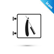Black Barbershop with razor icon isolated on white background. Hairdresser logo or signboard. Vector Illustration