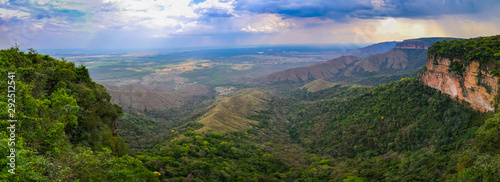 Panoramic view from top of cliffs in an opening valley in the late afternoon wit Canvas-taulu
