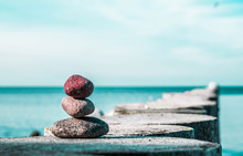 Zen Stones On The Beach With S...
