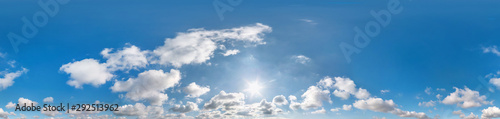 obraz PCV Seamless cloudy blue sky hdri panorama 360 degrees angle view with zenith and beautiful clouds for use in 3d graphics as sky dome or edit drone shot