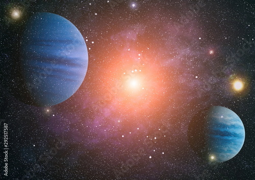 Obraz Purple nebula in outer space. Elements of this image furnished by NASA. - fototapety do salonu