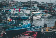 Traditional Chinese Fishmen Ship Parking On Cheung Chau Port