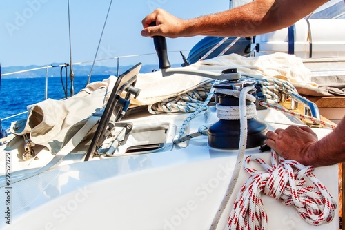 Fotografie, Obraz Sailboat Winch and Rope Yacht detail