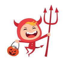 Cute Little Red Devil Demon Kid Vector Cartoon Character. Kid In Halloween Costume.