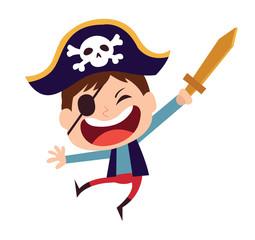 Cute little pirate kid vector cartoon character. Kid in halloween costume.