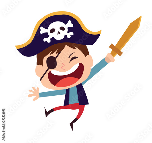 Canvas Print Cute little pirate kid vector cartoon character