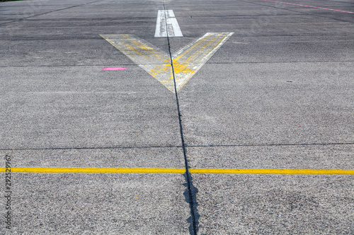 road marking and signs on an old airstrip Canvas Print