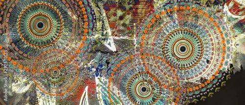 mandala colorful vintage art, ancient Indian vedic background design, old painti Canvas Print