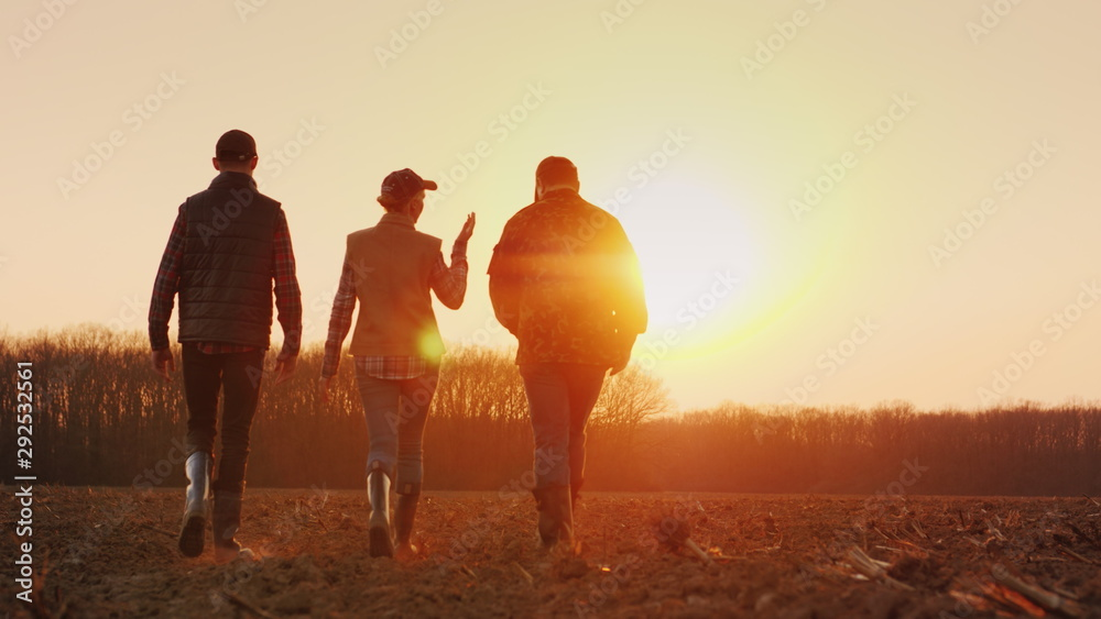 Fototapeta Three farmers go ahead on a plowed field at sunset. Young team of farmers