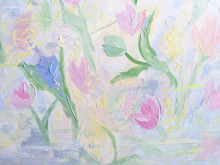 Hand Painted Flowers Background. Pastel Colors Painting.