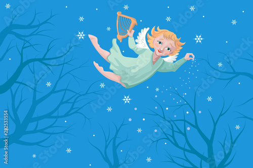 Aluminium Prints Submarine The Christmas angel with a harp flies on the sky and pours snow. Vector illustration