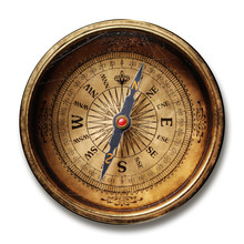 Vintage Brass Compass Isolated On White Background