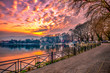 View to the lake Pamvotis at sunset. Ioannina city, Greece.