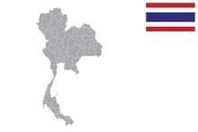 Thailand Map. Thailand Flag. Flat Icon Symbol Vector Illustration