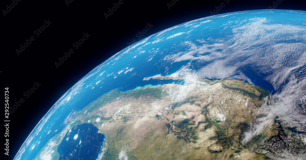 Fototapety, obrazy: The Earth globe from Space. High Resolution Planet Earth view. 3d realistic render Illustration. Elements of this image are furnished by NASA.
