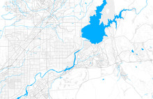 Rich Detailed Vector Map Of Folsom, California, USA