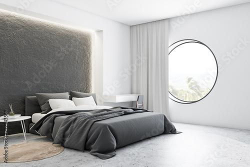 Billede på lærred Corner of gray and white master bedroom