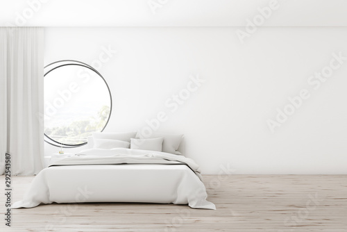 obraz PCV White bedroom interior with round window