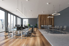Gray And Wooden Panoramic Office, Conference Room