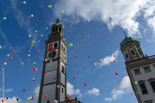 Turamichele celebration with ballons in front of Perlach tower in Augsburg, Germ Canvas Print