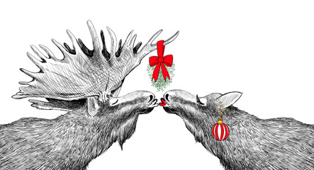 Funny Christmas Card with moose kissing under mistletoe in humorous fun holiday design. Hand drawn animal sketch for party invitations or border illustration. Festive characters in cute image scene.