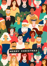 Christmas And Happy New Year Illustration With People In Carnival Costumes.