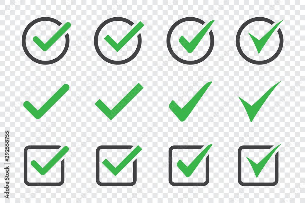 Fototapety, obrazy: Set of check mark icon on a transparent background