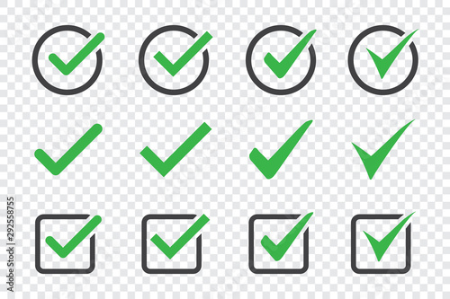 Photo Set of check mark icon on a transparent background