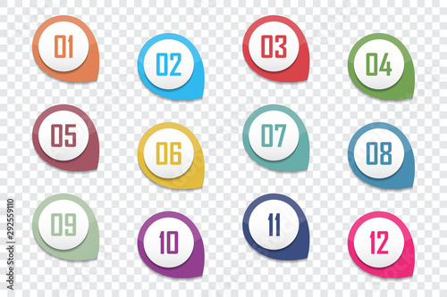 Fotomural  Set of number bullet point 1 to 12. Vector illustration