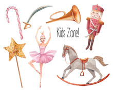 Retro Toys Set. Watercolor Kids Game Items: Magic Wand With Star, Soldier, Ballerina Doll, Pipe, Candy, Rocking Horse. Isolated Objects For Banner, Headers, Website, Stickers