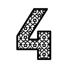 Number 4 For Laser Cutting. Numeral Character Four. Decor Font For Paper Or Die Cut. Numeric Date Template. Vector Letter For Invitation, Baby Shower, Birthday Card, Scrapbooking, Wedding.