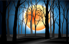 Landscape Silhouette Dead Trees In Graveyard With Full Moon Blue Night Background