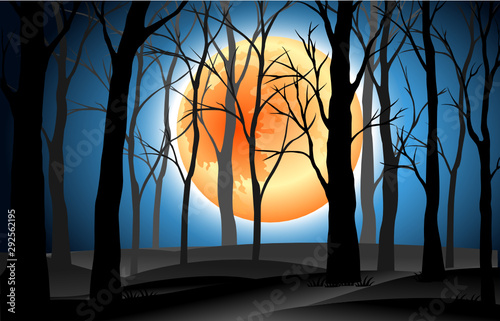Foto auf AluDibond Schwarz landscape silhouette dead trees in graveyard with full moon blue night background