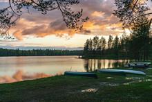 Sunset By The Lakeside In Koli National Park, Lakeland, Finland